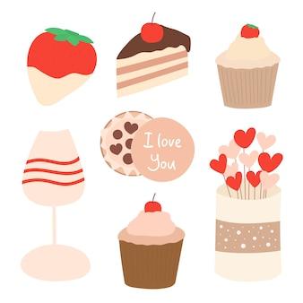 Valentinstag süßigkeiten. süßigkeiten-cartoon-vektor-set. sammlung von rosa romantischen desserts. premium-vektor