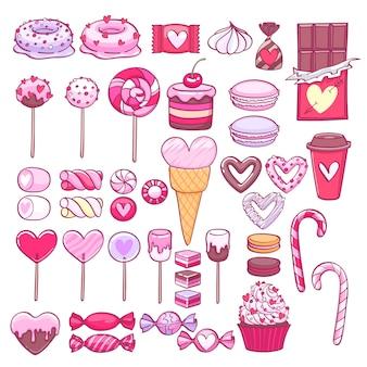 Valentinstag süßigkeiten und kekse gesetzt. verschiedene süßigkeiten.