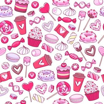 Valentinstag süßigkeiten und kekse hintergrund. verschiedene süßigkeiten.