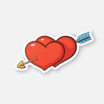 Valentinstag-symbol zwei herzen mit pfeil-liebes-zeichen cartoon-aufkleber vektor-illustration