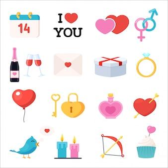 Valentinstag symbole eingestellt