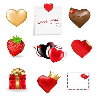 Valentinstag-symbolsammlung, lokalisiert auf weißem hintergrund,