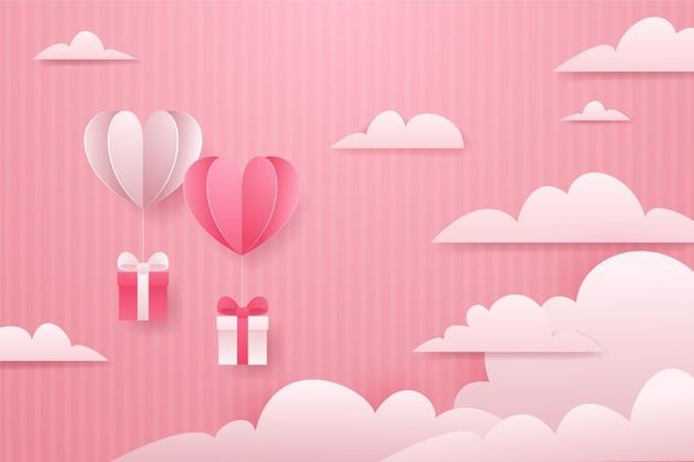 Valentinstag tapete im papierstil