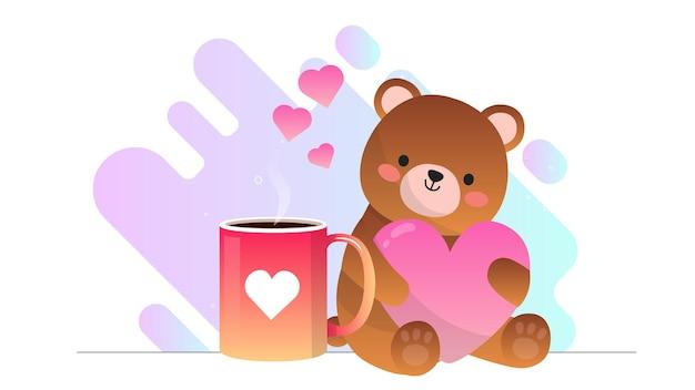 Valentinstag teddybär liebe kaffee illustration hintergrund