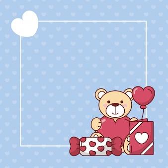 Valentinstag teddybär mit herzballon und süßigkeiten