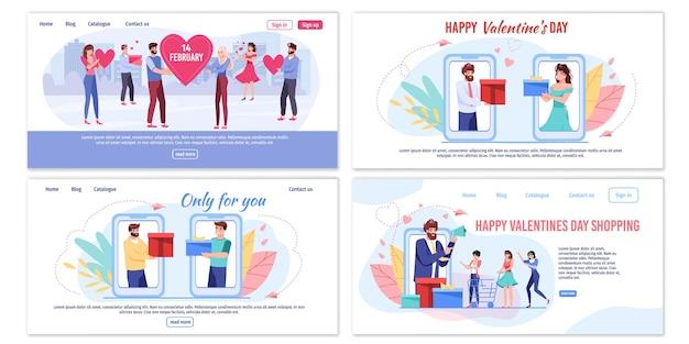 Valentinstag thema landing page set mit flachen illustrationen