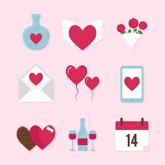 Valentinstag thematische elementsammlung