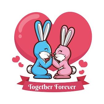 Valentinstag tierpaare mit kaninchen