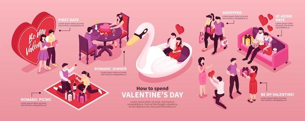Valentinstag tipps horizontale infografik