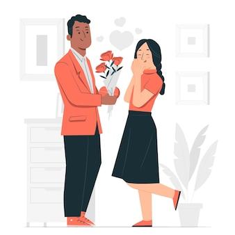 Valentinstag-überraschungskonzeptillustration