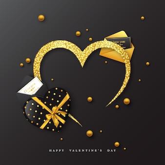 Valentinstag urlaub. glitzer dekoratives herz mit postkarte.