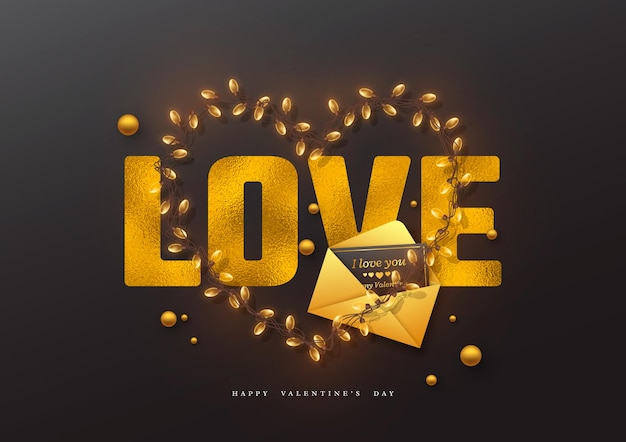 Valentinstag urlaub. glitzerwortliebe mit folieneffekt, girlandenherz und grußkarte mit umschlag.