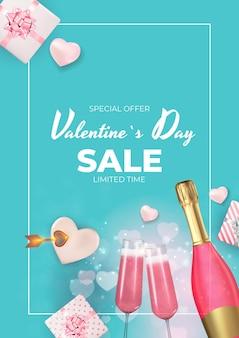 Valentinstag urlaub verkauf banner design.