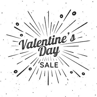 Valentinstag vektor vintage illustration. zeichen mit feuerwerksexplosion. stempeln sie das strukturierte etikett mit lichtstrahlen und dem prozentzeichen. valentinstag ornament.