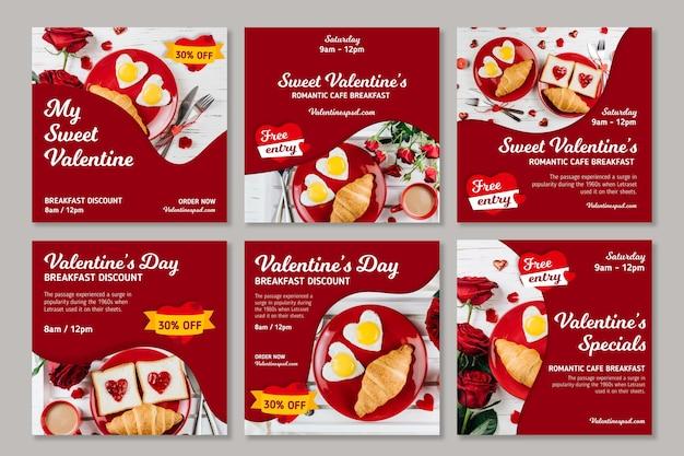 Valentinstag verkäufe instagram beiträge Kostenlosen Vektoren