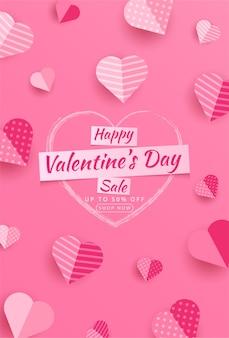 Valentinstag verkauf 50% rabatt auf poster oder banner mit vielen süßen herzen und auf rote .promotion und einkaufsvorlage oder für die liebe auf papierstil
