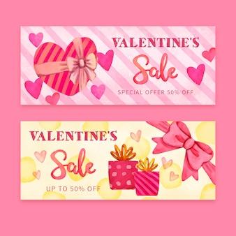 Valentinstag verkauf banner aquarell-stil