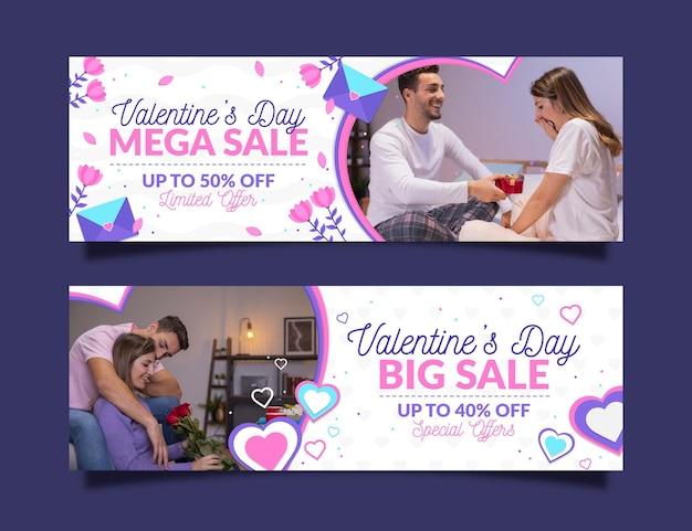 Valentinstag verkauf banner gesetzt