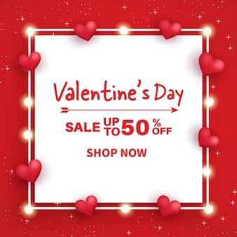 Valentinstag verkauf banner. verkauf bis zu 50%.
