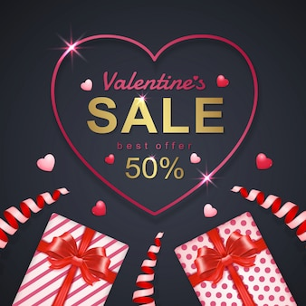 Valentinstag verkauf banner vorlage hintergrund