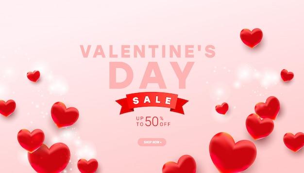Valentinstag verkauf banner vorlage. realistische herz-ballonelemente der dekoration 3d auf hellrosa