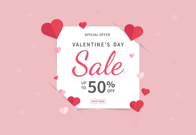 Valentinstag verkauf banner vorlage. valentinstag mit roten papierherzen.