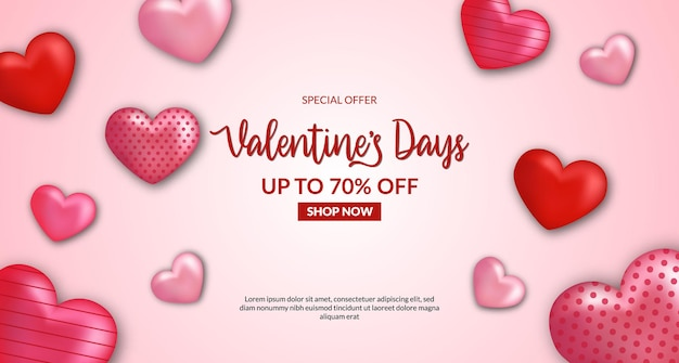 Valentinstag verkauf bieten banner rabatt promotion mit 3d herzform illustration. rosa rote farbe