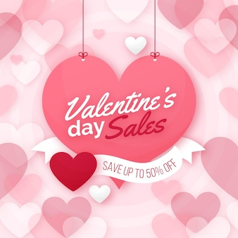 Valentinstag verkauf flaches design mit angebot