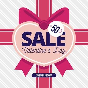 Valentinstag-verkauf im flachen design