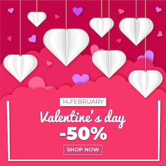 Valentinstag-verkauf im papierstil 50% rabatt
