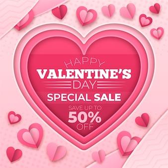 Valentinstag-verkauf im papierstil
