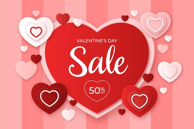 Valentinstag-verkauf im papierstilhintergrund