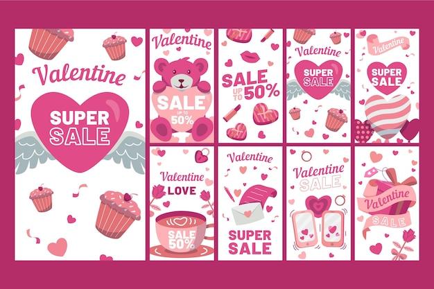 Valentinstag verkauf instagram geschichten gesetzt