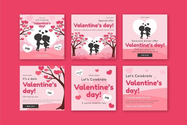Valentinstag verkauf instagram post sammlung Kostenlosen Vektoren