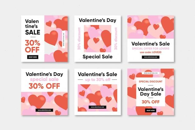 Valentinstag verkauf instagram post Premium Vektoren