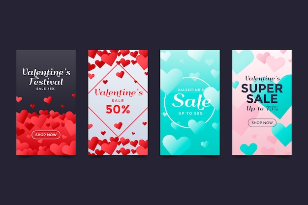 Valentinstag verkauf instagram story collection
