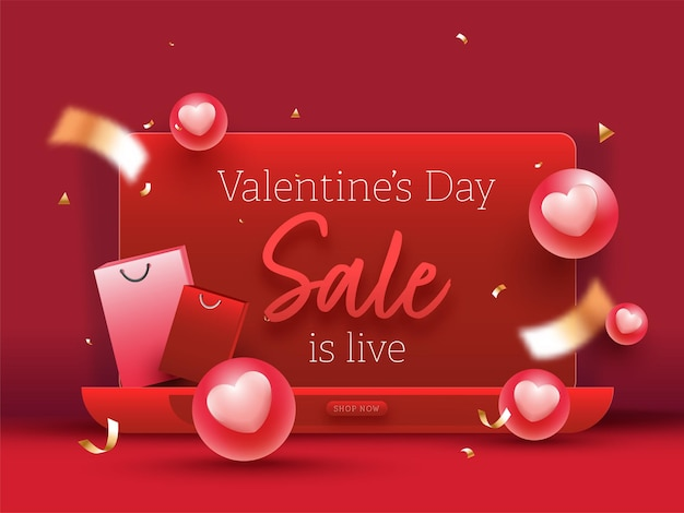 Valentinstag-verkauf ist live-poster-design mit 3d-herzkugeln
