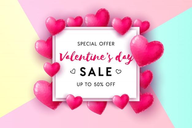 Valentinstag verkauf konzept hintergrund. 3d rosa niedrige polyherzen mit weißem quadratischem rahmen. illustration für website, tapete, flyer, einladung, plakate, broschüre, banner