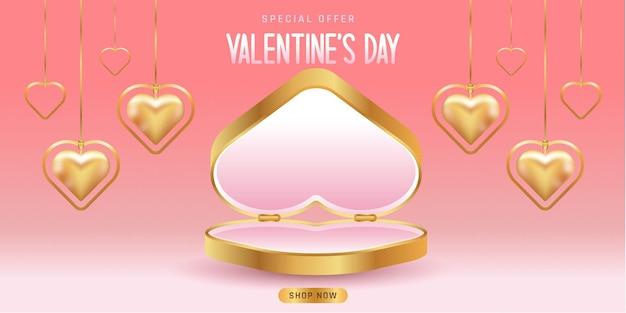 Valentinstag verkauf. leere plattform oder produktplattform zum valentinstag. plattform in herzform. herzförmige goldene halsketten.