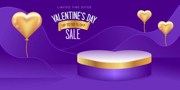 Valentinstag verkauf. leere plattform oder produktplattform zum valentinstag. plattform in herzform. herzförmige goldene luftballons.