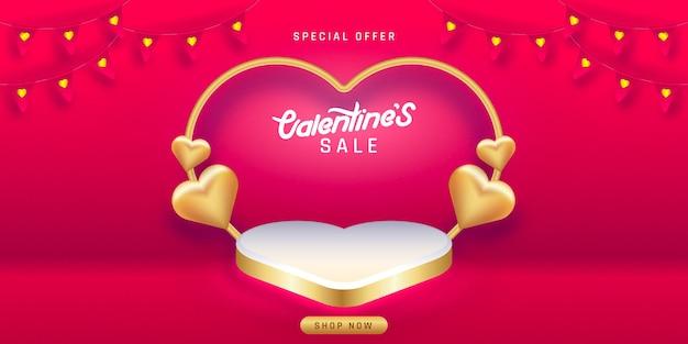 Valentinstag verkauf. leere podien, podeste oder plattformen.
