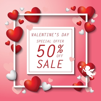 Valentinstag verkauf mit herz hintergrund