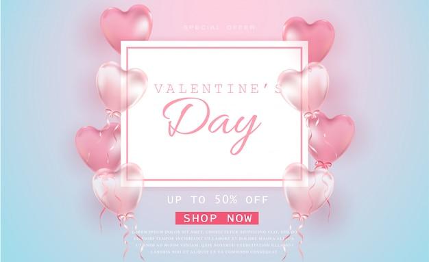Valentinstag-verkauf mit herzförmigen luftballons