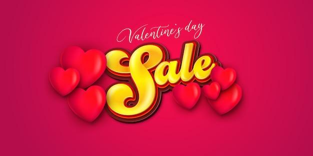 Valentinstag verkauf mit herzform. glückliche valentinstagromantik-grußkarte mit den roten und rosa herzen.