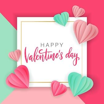 Valentinstag verkauf mit herzform. papierschnitt-stil