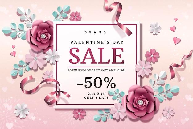 Valentinstag-verkauf mit papierblumendekorationen in der 3d-illustration