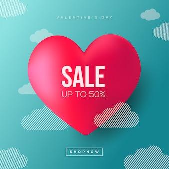 Valentinstag-verkauf mit wolken-hintergrund