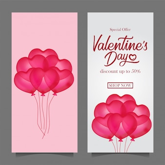 Valentinstag verkauf rabatt banner