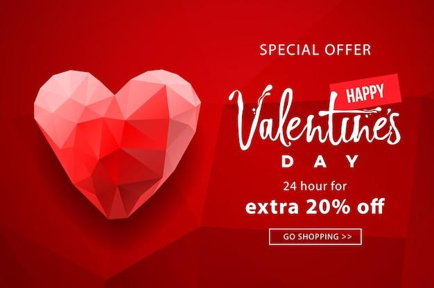 Valentinstag verkauf, web-hintergrund mit polygonalen herz geformt.