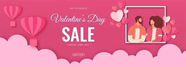 Valentinstag-verkaufs-titel oder fahnen-design mit gesichtslosem liebhaber-paar-charakter